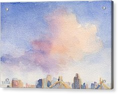 Pink Cloud And 59th St Bridge Watercolor Painting Of Nyc Acrylic Print