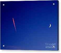 Pink Con Trail And Moon Acrylic Print