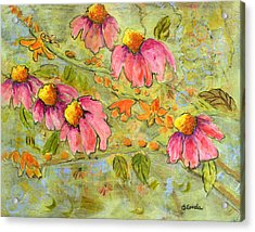 Pink Coneflowers For Marian Acrylic Print by Blenda Studio