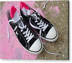 Pink Converse Acrylic Print by Geoff Strehlow