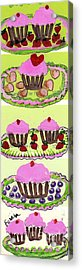 Acrylic Print featuring the painting Pink Cupcake Delights by Ecinja Art Works