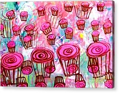 Pink Cupcake Dream Acrylic Print by Ecinja Art Works