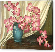 Acrylic Print featuring the painting Pink Dogwoods by Evie Cook