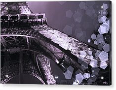 Pink Eiffel French Icon Acrylic Print by Evie Carrier