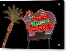 Pink Elephant Car Wash 36 X 24 Acrylic Print