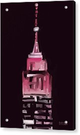 Pink Empire State Building New York At Night Acrylic Print by Beverly Brown
