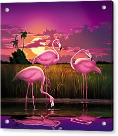 Pink Flamingos At Sunset Tropical Landscape - Square Format Acrylic Print by Walt Curlee