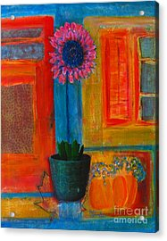 Acrylic Print featuring the painting Pink Flower by Patricia Januszkiewicz