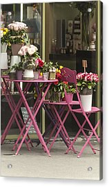 Pink Flower Table Paris Acrylic Print