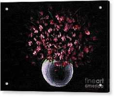 Acrylic Print featuring the painting Pink Flowers In Vase  by Becky Lupe
