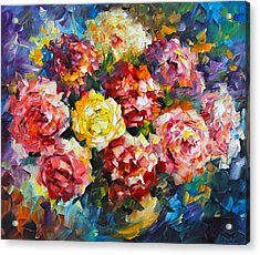 Pink Flowers Acrylic Print by Leonid Afremov