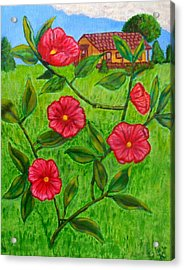 Acrylic Print featuring the painting Pink Flowers by Sheri Keith