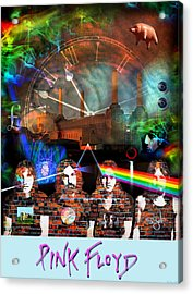 Pink Floyd Collage Acrylic Print by Mal Bray