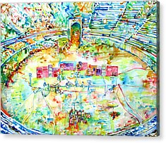 Pink Floyd Live At Pompeii Watercolor Painting Acrylic Print