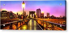 Pink Fog Of New York City Acrylic Print by Az Jackson