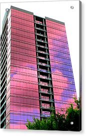Pink Glass Buildings Can Be Pretty Acrylic Print by Randall Weidner