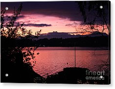 Pink Grapefruit Colored Sunset Acrylic Print by Kym Backland
