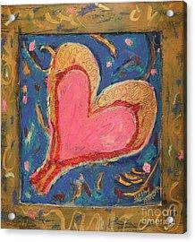 Pink Heart On Beveled Wood Acrylic Print by Kelly Athena