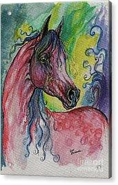 Pink Horse With Blue Mane Acrylic Print by Angel  Tarantella