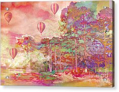 Pink Hot Air Balloons Abstract Nature Pastels - Dreamy Pastel Balloons Acrylic Print by Kathy Fornal