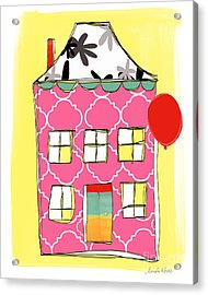 Pink House Acrylic Print by Linda Woods