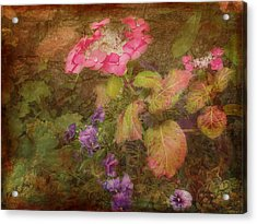 Pink Hydrangea And Purple Pansies Acrylic Print