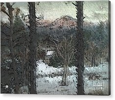 Acrylic Print featuring the painting Snow - Pink Mountain - Blueridge Mountains by Jan Dappen