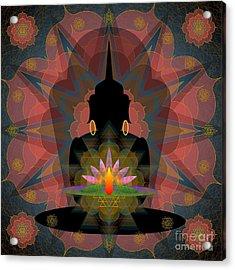 Pink Lotus Buddha Acrylic Print
