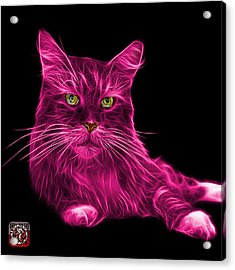 Acrylic Print featuring the painting Pink Maine Coon Cat - 3926 - Bb by James Ahn