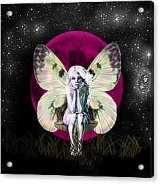 Pink Moon Fairy Acrylic Print by Diana Shively
