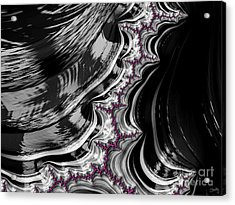 Pink On Black And White Fractal Abstract Acrylic Print