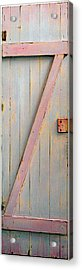 Pink Painted Z Door Acrylic Print by Asha Carolyn Young