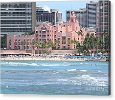 Pink Palace On Waikiki Beach Acrylic Print