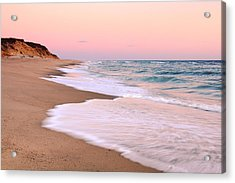 Pink Pastel Beach And Sky Acrylic Print