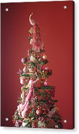 Acrylic Print featuring the photograph Pink Peacock Christmas Tree by Suzanne Powers
