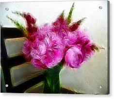 Pink Peonies And Snapdragons In Vase Acrylic Print by Cindy Wright
