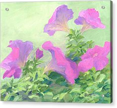 Pink Petunias Beautiful Flowers Art Colorful Original Garden Floral Flower Artist K. Joann Russell  Acrylic Print