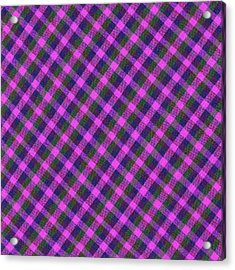 Pink Purple And Green Diagonal Plaid Textile Background Acrylic Print by Keith Webber Jr