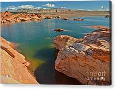Pink Rocks Blue Water Acrylic Print