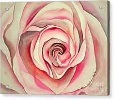Acrylic Print featuring the painting Pink Rose by Shirin Shahram Badie