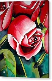 Pink Rosebud Acrylic Print by Sacha Grossel