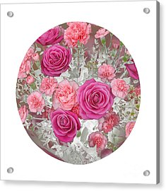 Pink Roses And Carnations In Circle Acrylic Print by Rosemary Calvert