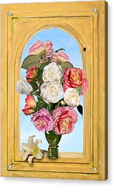 Pink Roses And White Peonis In Roemer In Open Niche Acrylic Print