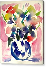 Pink Roses In A Blue Vase Acrylic Print by Tolere