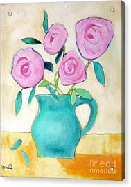 Pink Roses In A Green Vase Acrylic Print by Venus