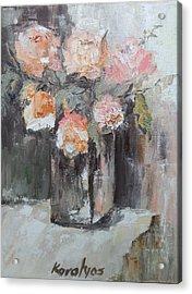 Pink Roses In A Vase Acrylic Print by Maria Karalyos