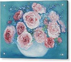 Pink Roses Acrylic Print by Jan Matson