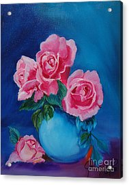 Pink Roses Acrylic Print by Jenny Lee