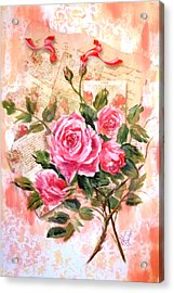 Pink Roses On Vintage Letters Acrylic Print