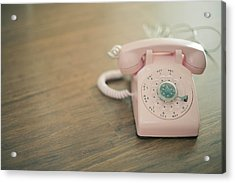 Pink Rotary Telephone Acrylic Print by Photo By Nicole Peattie, Photographer